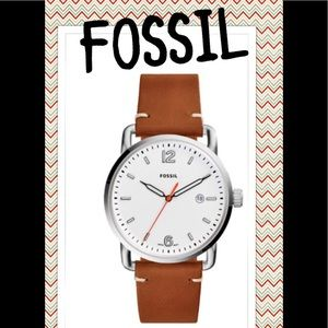 🚙 Fossil Men's The Commuter Silver Leather Watch